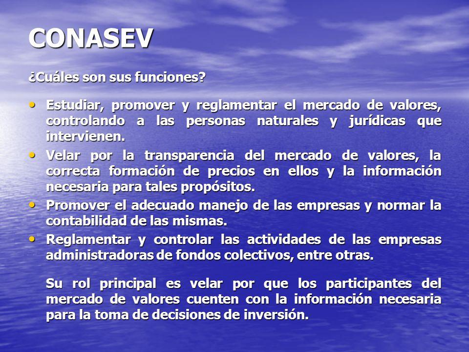 CONASEV ¿Cuáles son sus funciones? Estudiar, promover y reglamentar el mercado de valores, controlando a las personas naturales y jurídicas que interv