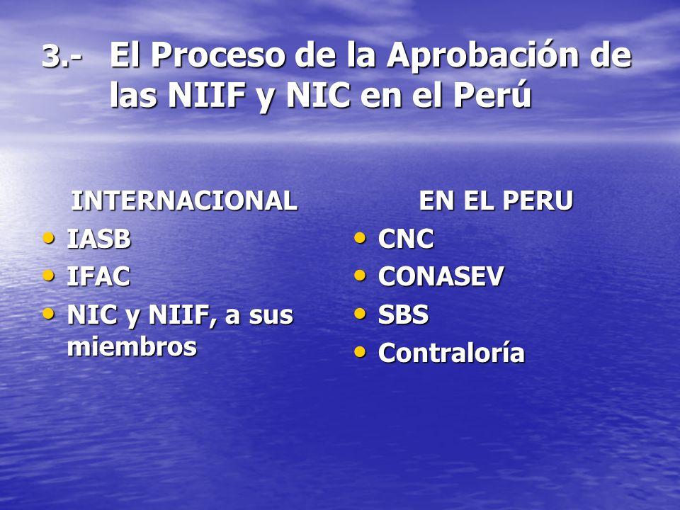 3.- El Proceso de la Aprobación de las NIIF y NIC en el Perú INTERNACIONAL IASB IASB IFAC IFAC NIC y NIIF, a sus miembros NIC y NIIF, a sus miembros E