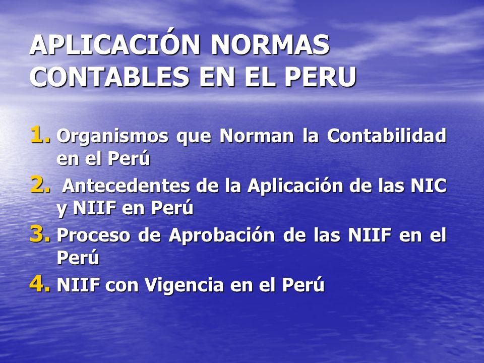 APLICACIÓN NORMAS CONTABLES EN EL PERU 1. Organismos que Norman la Contabilidad en el Perú 2. Antecedentes de la Aplicación de las NIC y NIIF en Perú