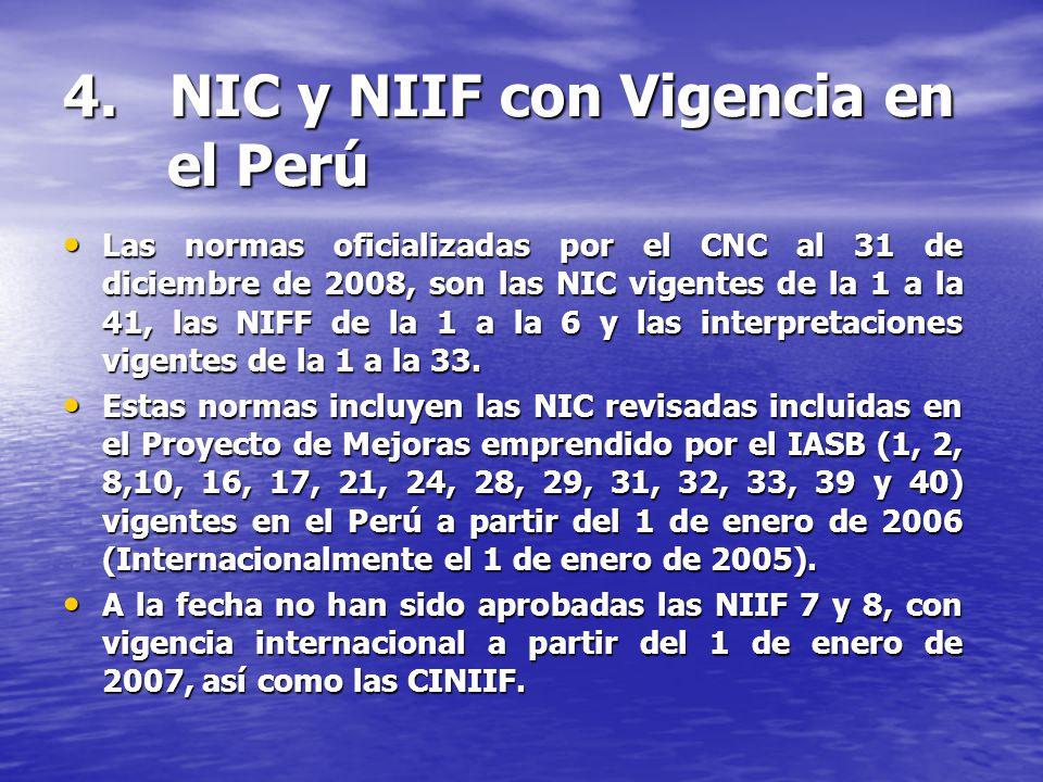 4. NIC y NIIF con Vigencia en el Perú Las normas oficializadas por el CNC al 31 de diciembre de 2008, son las NIC vigentes de la 1 a la 41, las NIFF d