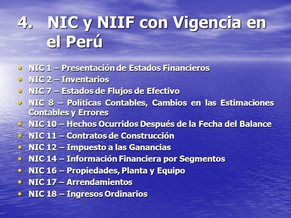 4. NIC y NIIF con Vigencia en el Perú NIC 1 – Presentación de Estados Financieros NIC 1 – Presentación de Estados Financieros NIC 2 – Inventarios NIC