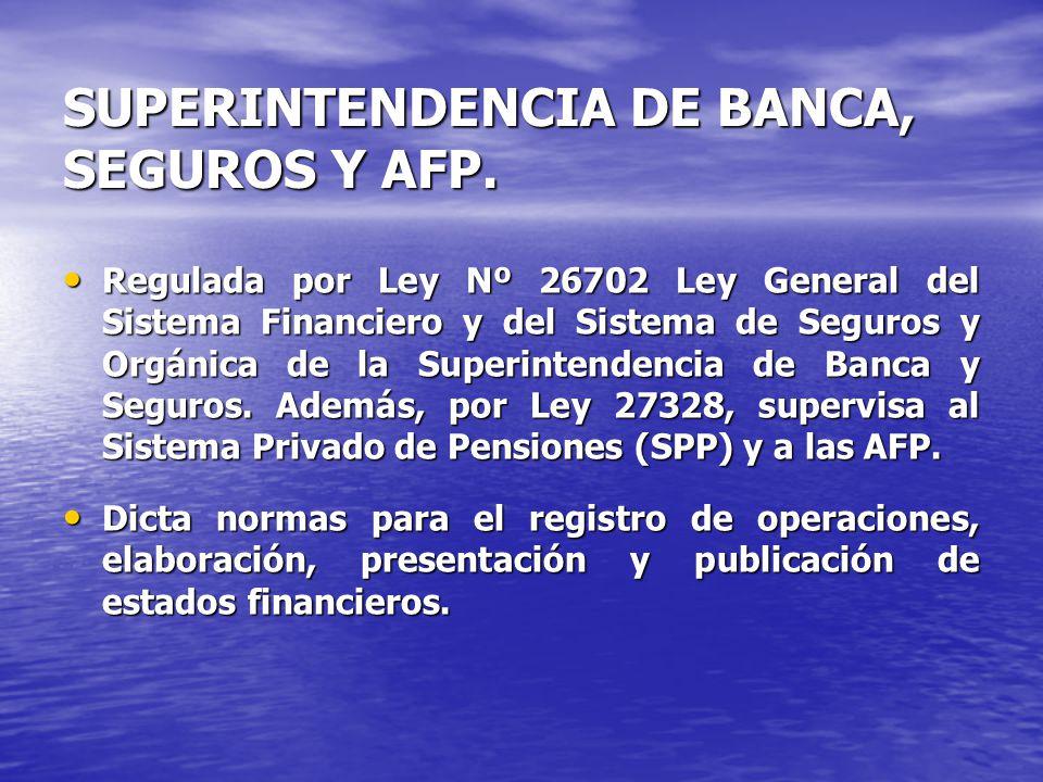 SUPERINTENDENCIA DE BANCA, SEGUROS Y AFP. Regulada por Ley Nº 26702 Ley General del Sistema Financiero y del Sistema de Seguros y Orgánica de la Super