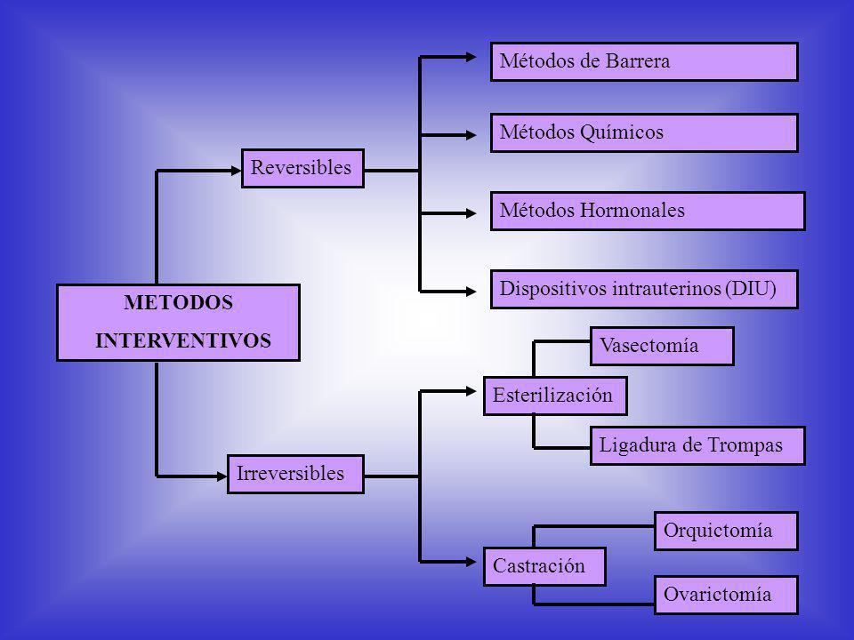 METODOS INTERVENTIVOS Métodos de Barrera Métodos Hormonales Métodos Químicos Dispositivos intrauterinos (DIU) Esterilización Castración Ligadura de Trompas Vasectomía Orquictomía Ovarictomía Reversibles Irreversibles