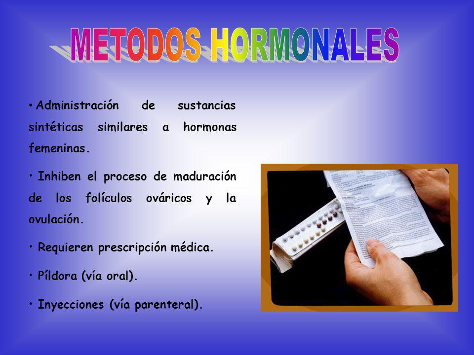 Administración de sustancias sintéticas similares a hormonas femeninas.