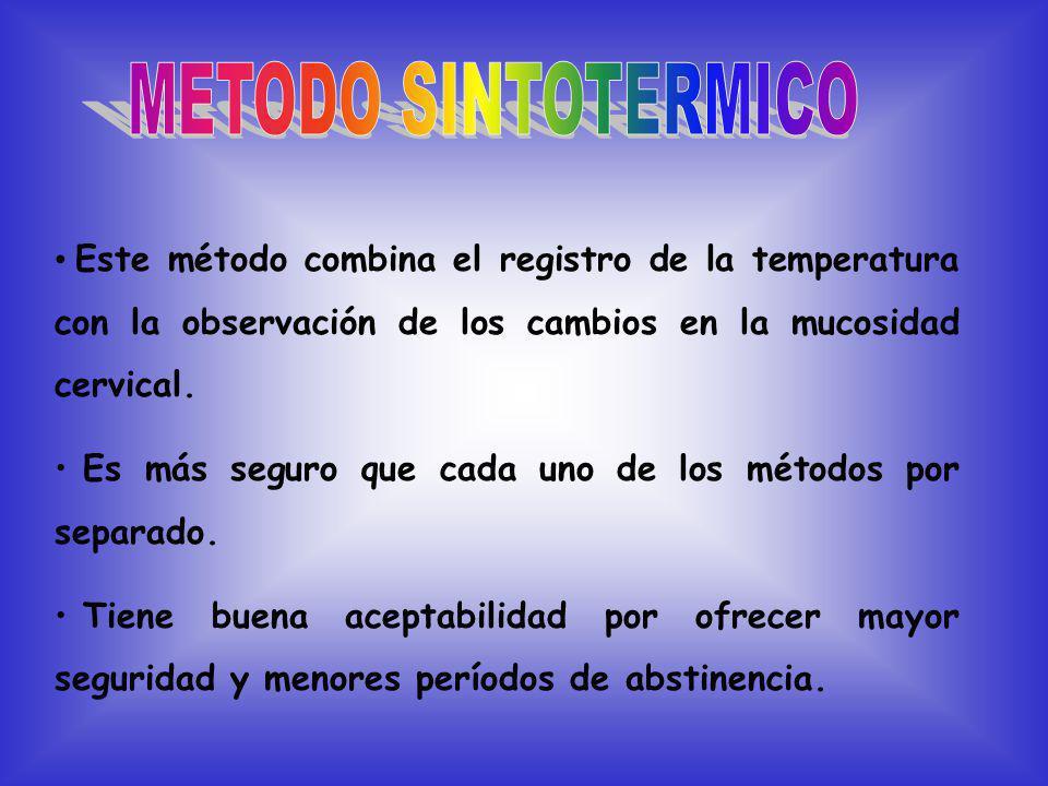 Este método combina el registro de la temperatura con la observación de los cambios en la mucosidad cervical.