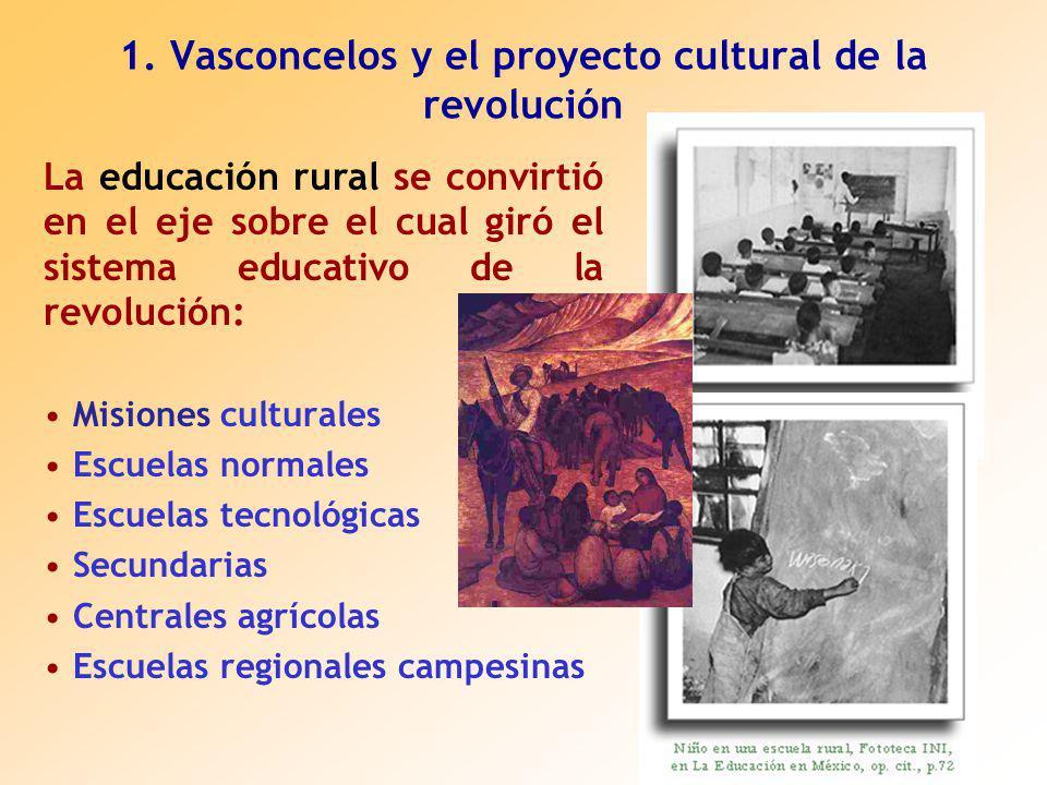 La educación rural se convirtió en el eje sobre el cual giró el sistema educativo de la revolución: Misiones culturales Escuelas normales Escuelas tecnológicas Secundarias Centrales agrícolas Escuelas regionales campesinas 1.