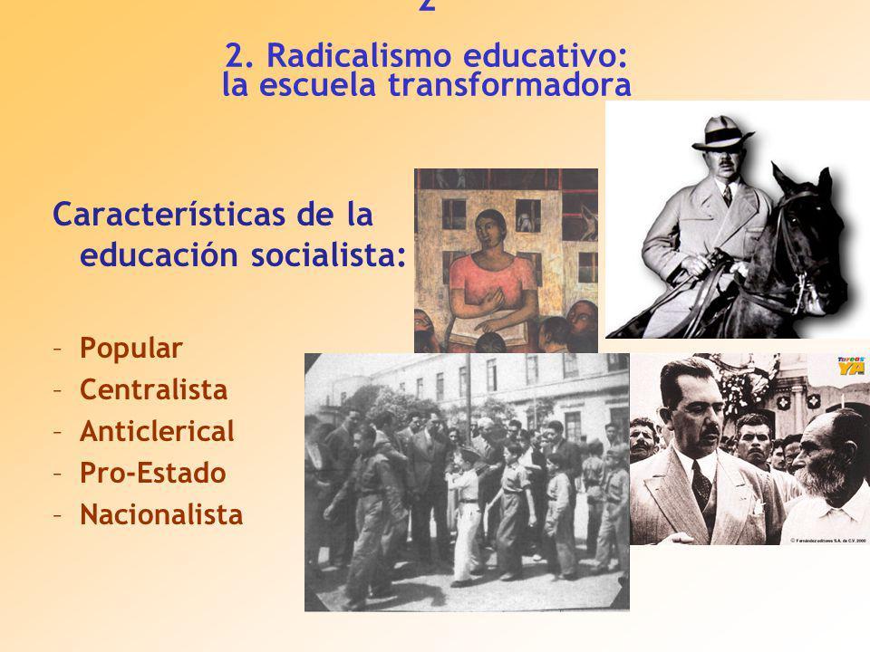Características de la educación socialista: –Popular –Centralista –Anticlerical –Pro-Estado –Nacionalista 2 2.