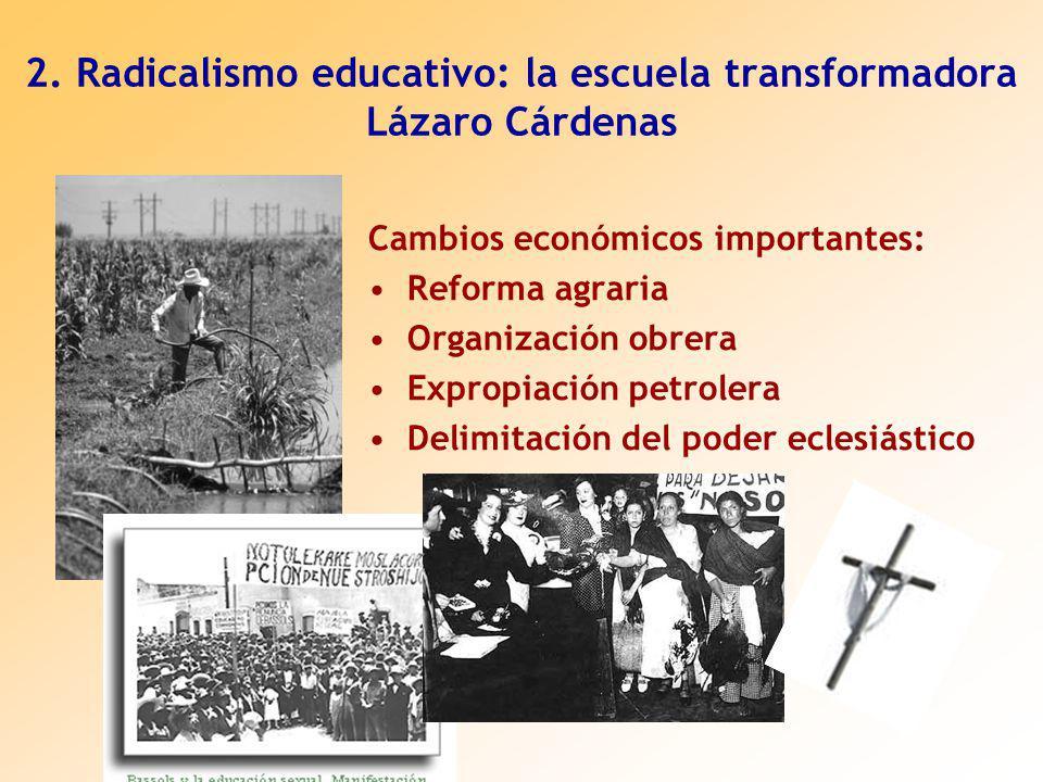 2. Radicalismo educativo: la escuela transformadora Lázaro Cárdenas Cambios económicos importantes: Reforma agraria Organización obrera Expropiación p