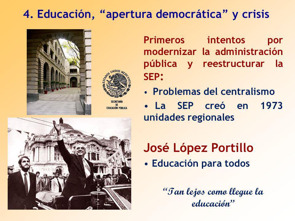 Primeros intentos por modernizar la administración pública y reestructurar la SEP : Problemas del centralismo La SEP creó en 1973 unidades regionales José López Portillo Educación para todos Tan lejos como llegue la educación 4.