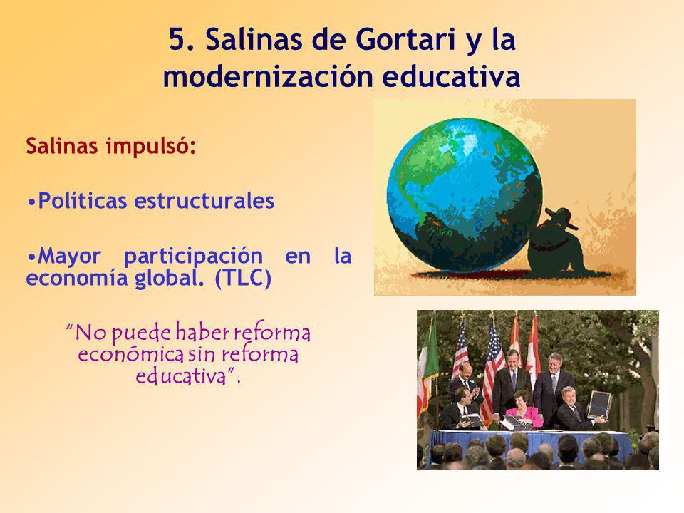 5. Salinas de Gortari y la modernización educativa Salinas impulsó: Políticas estructurales Mayor participación en la economía global. (TLC) No puede