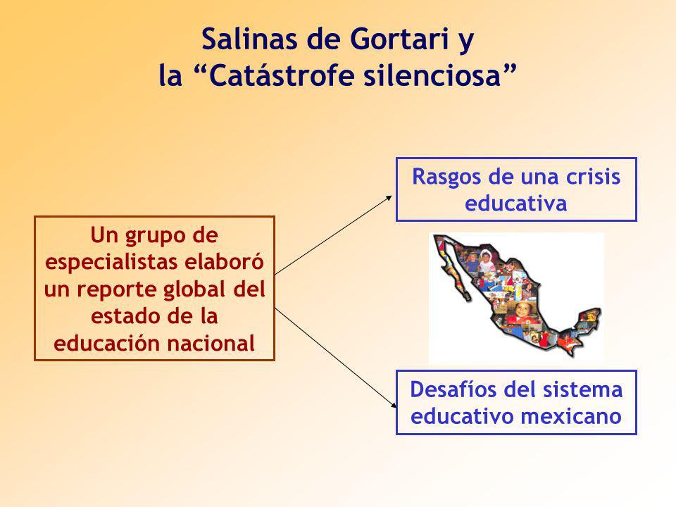 Salinas de Gortari y la Catástrofe silenciosa Rasgos de una crisis educativa Un grupo de especialistas elaboró un reporte global del estado de la educación nacional Desafíos del sistema educativo mexicano