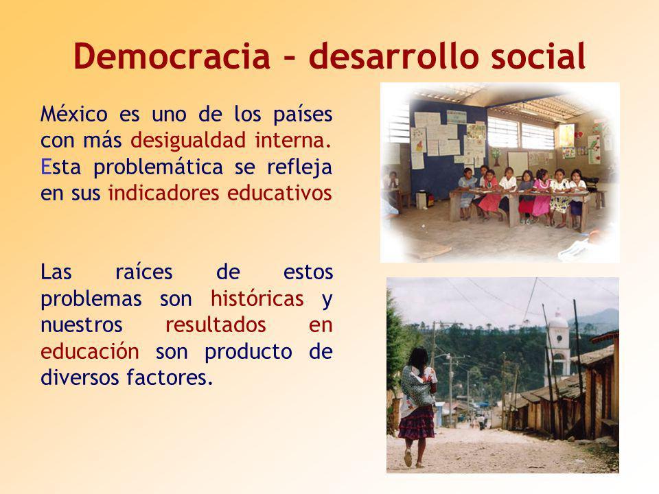 Democracia – desarrollo social México es uno de los países con más desigualdad interna.