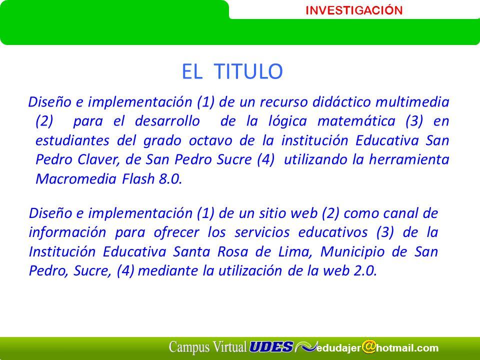 INVESTIGACIÓN edudajer hotmail.com Diseño e implementación (1) de un recurso didáctico multimedia (2) para el desarrollo de la lógica matemática (3) e