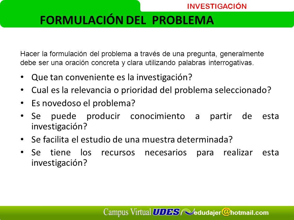 INVESTIGACIÓN edudajer hotmail.com FORMULACIÓN DEL PROBLEMA Que tan conveniente es la investigación.