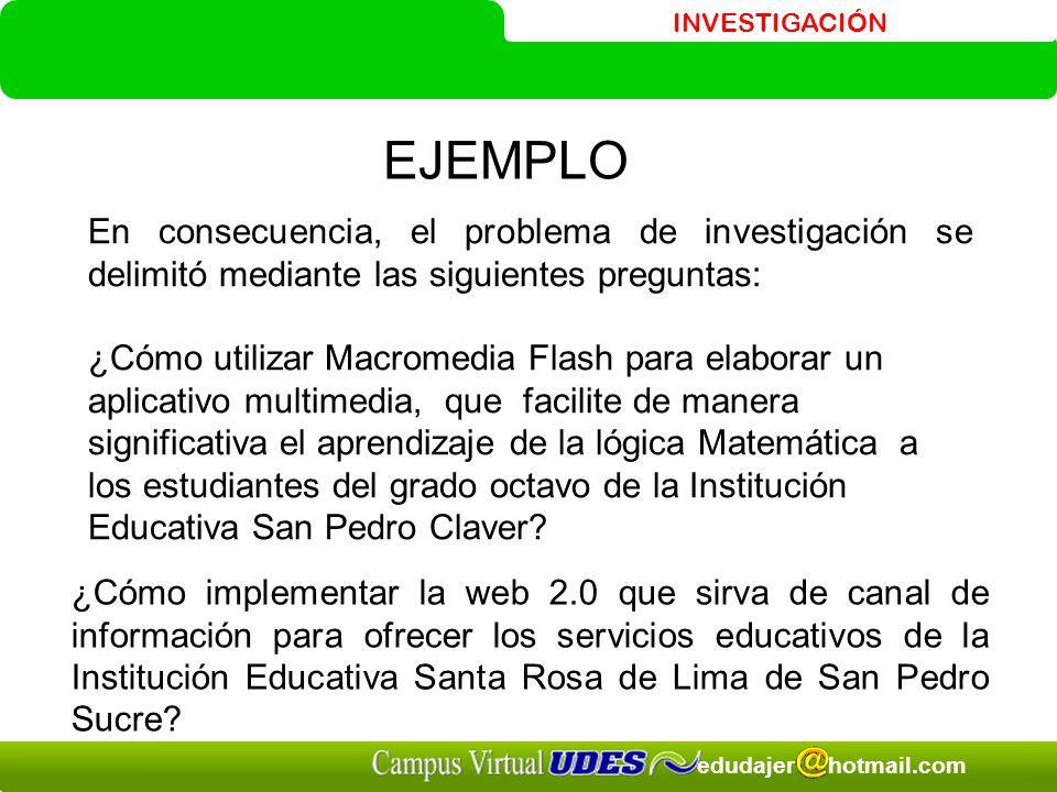 INVESTIGACIÓN edudajer hotmail.com EJEMPLO En consecuencia, el problema de investigación se delimitó mediante las siguientes preguntas: ¿Cómo utilizar