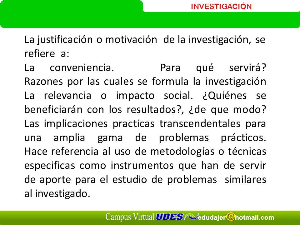 INVESTIGACIÓN edudajer hotmail.com La justificación o motivación de la investigación, se refiere a: La conveniencia.