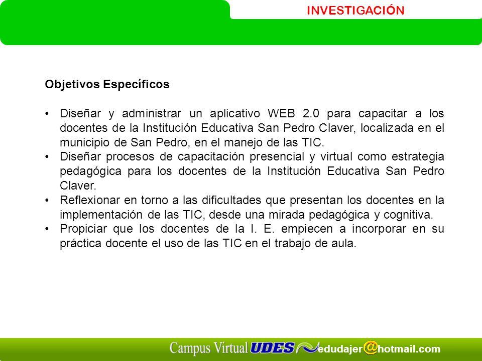 INVESTIGACIÓN edudajer hotmail.com Objetivos Específicos Diseñar y administrar un aplicativo WEB 2.0 para capacitar a los docentes de la Institución Educativa San Pedro Claver, localizada en el municipio de San Pedro, en el manejo de las TIC.