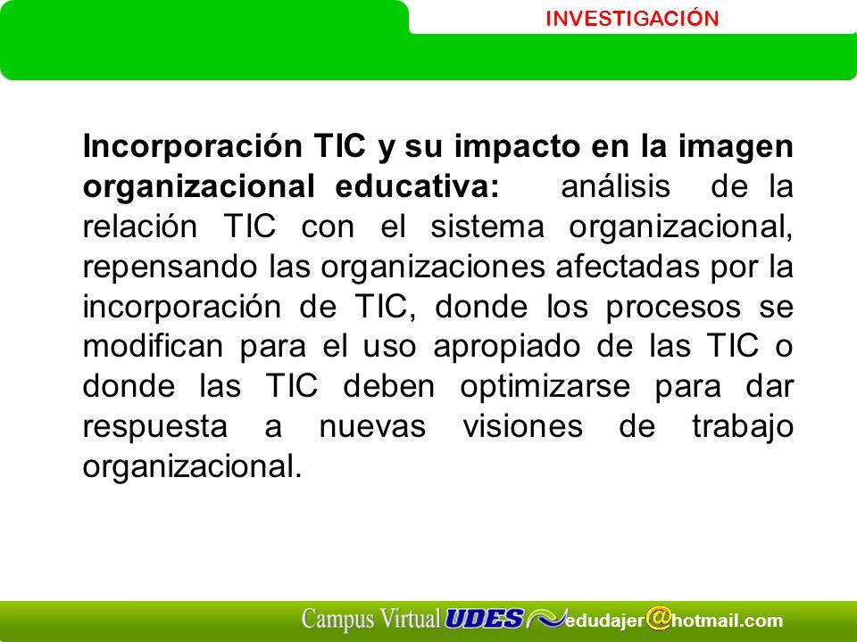 INVESTIGACIÓN edudajer hotmail.com Incorporación TIC y su impacto en la imagen organizacional educativa: análisis de la relación TIC con el sistema or