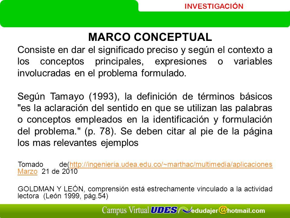 INVESTIGACIÓN edudajer hotmail.com MARCO CONCEPTUAL Consiste en dar el significado preciso y según el contexto a los conceptos principales, expresiones o variables involucradas en el problema formulado.