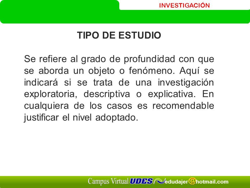 INVESTIGACIÓN edudajer hotmail.com TIPO DE ESTUDIO Se refiere al grado de profundidad con que se aborda un objeto o fenómeno.