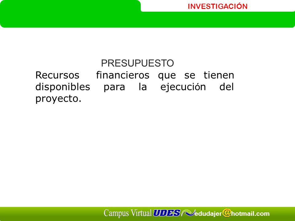 INVESTIGACIÓN edudajer hotmail.com PRESUPUESTO Recursos financieros que se tienen disponibles para la ejecuci ó n del proyecto.
