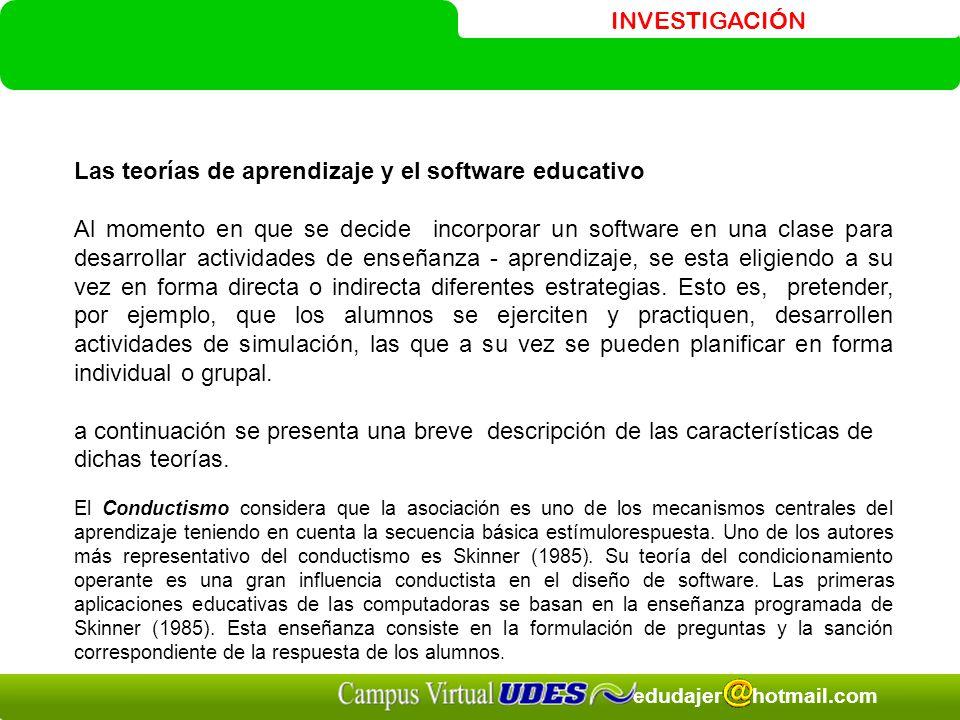 INVESTIGACIÓN edudajer hotmail.com Las teorías de aprendizaje y el software educativo Al momento en que se decide incorporar un software en una clase