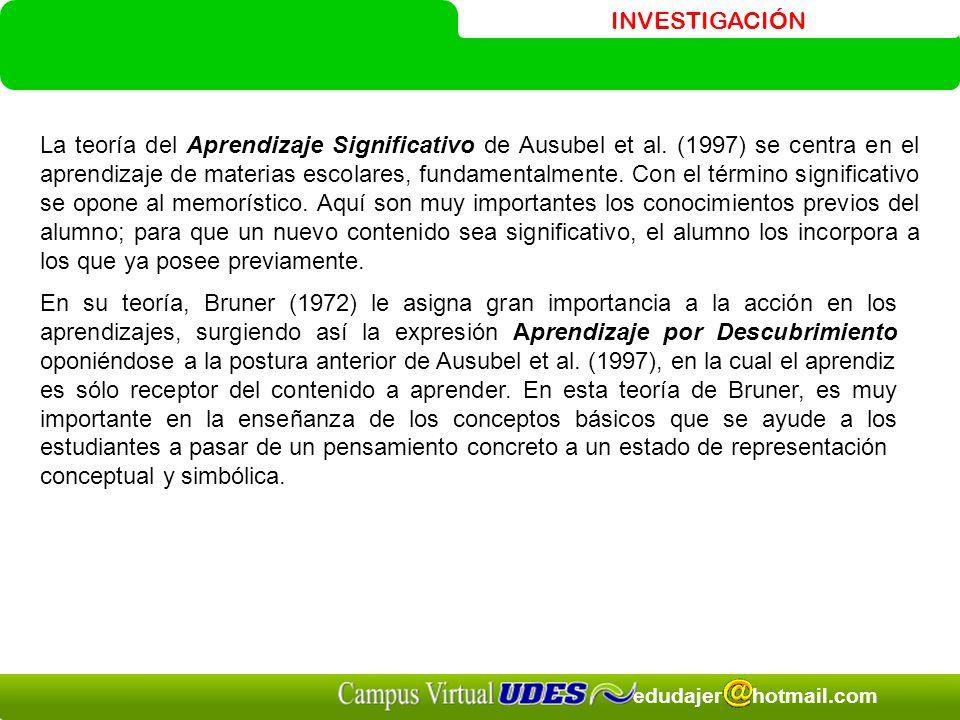 INVESTIGACIÓN edudajer hotmail.com La teoría del Aprendizaje Significativo de Ausubel et al. (1997) se centra en el aprendizaje de materias escolares,