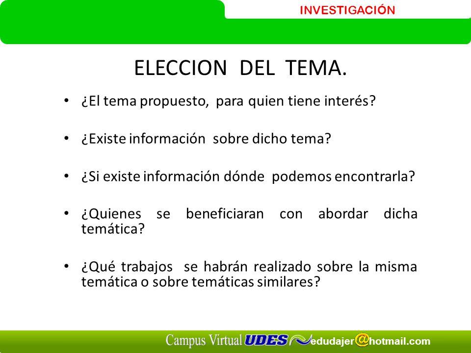 INVESTIGACIÓN edudajer hotmail.com ELECCION DEL TEMA.