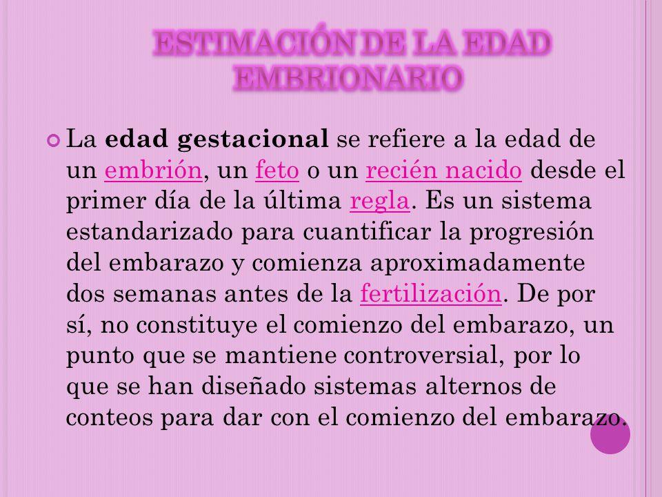 La edad gestacional se refiere a la edad de un embrión, un feto o un recién nacido desde el primer día de la última regla. Es un sistema estandarizado