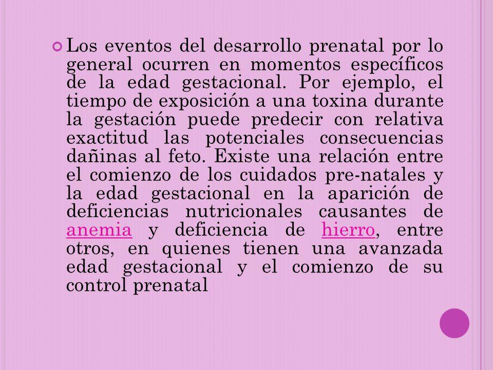 Los eventos del desarrollo prenatal por lo general ocurren en momentos específicos de la edad gestacional. Por ejemplo, el tiempo de exposición a una