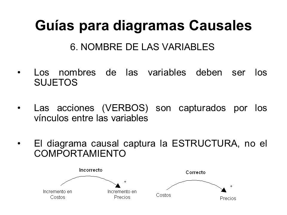 Guías para diagramas Causales 6. NOMBRE DE LAS VARIABLES Los nombres de las variables deben ser los SUJETOS Las acciones (VERBOS) son capturados por l