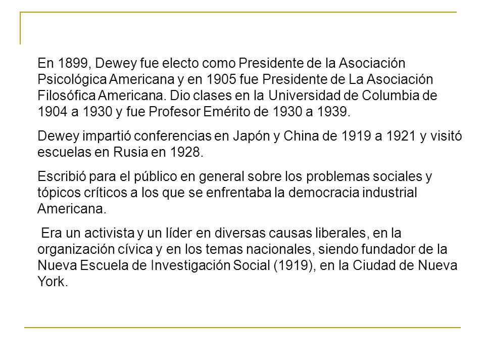 En 1899, Dewey fue electo como Presidente de la Asociación Psicológica Americana y en 1905 fue Presidente de La Asociación Filosófica Americana. Dio c