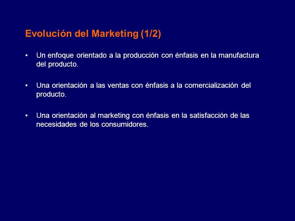 Evolución del Marketing (2/2) Algunas industrias y organizaciones se han estancado en la etapa de la orientación a la producción.