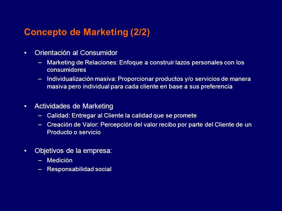 La importancia del Marketing (1/2) El marketing crea Valor (Utilidad): Utilidad de lugar.