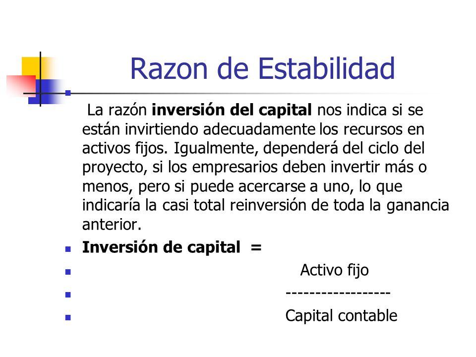 Razon de Estabilidad La razón inversión del capital nos indica si se están invirtiendo adecuadamente los recursos en activos fijos.
