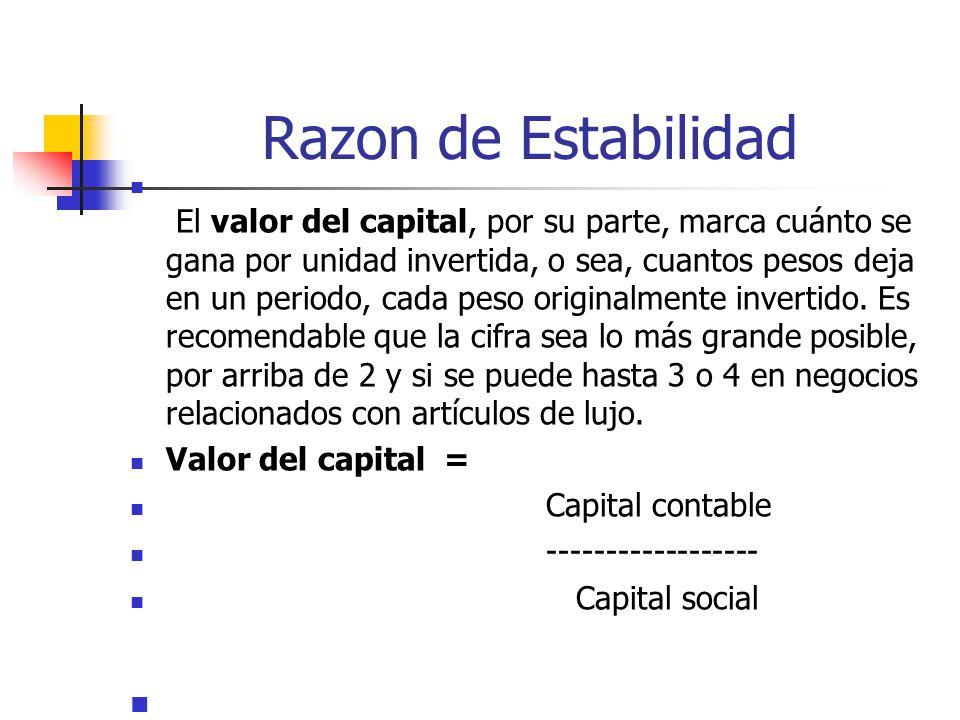 Razon de Estabilidad El valor del capital, por su parte, marca cuánto se gana por unidad invertida, o sea, cuantos pesos deja en un periodo, cada peso originalmente invertido.