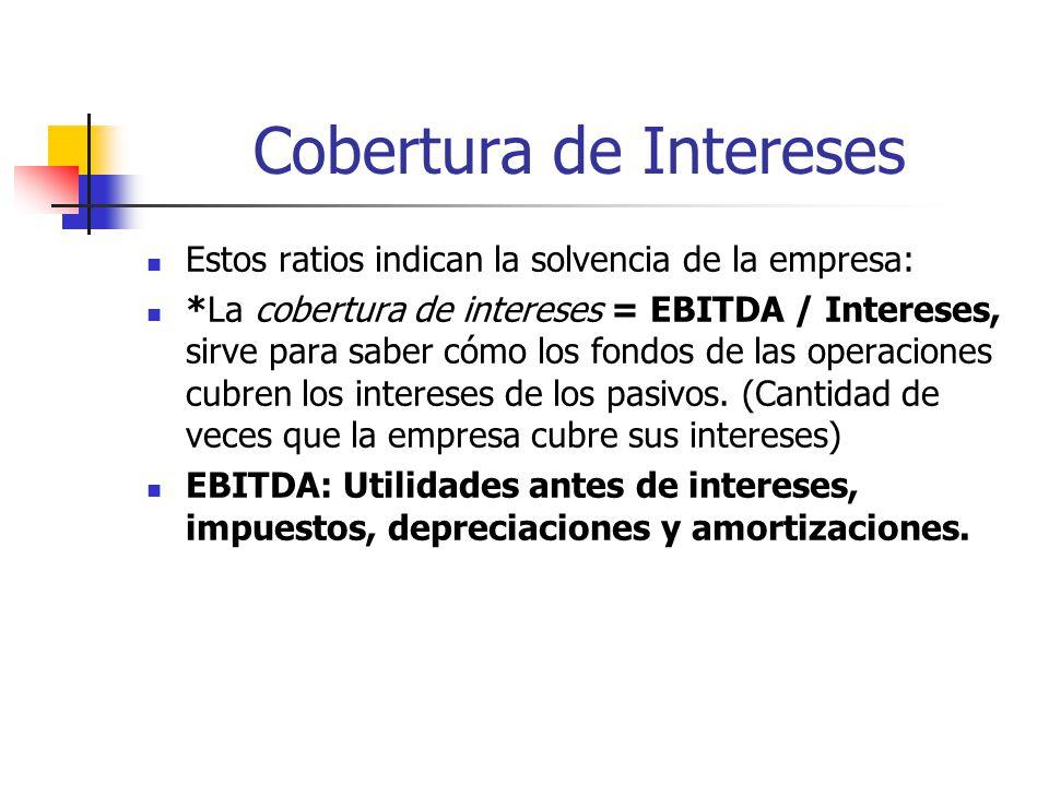 Cobertura de Intereses Estos ratios indican la solvencia de la empresa: *La cobertura de intereses = EBITDA / Intereses, sirve para saber cómo los fondos de las operaciones cubren los intereses de los pasivos.