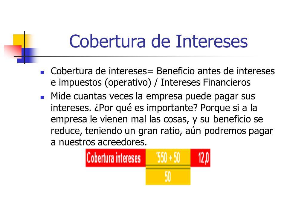Cobertura de Intereses Cobertura de intereses= Beneficio antes de intereses e impuestos (operativo) / Intereses Financieros Mide cuantas veces la empresa puede pagar sus intereses.