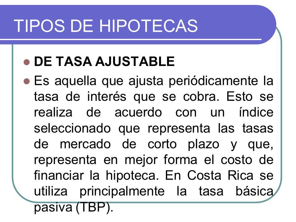 TIPOS DE HIPOTECAS DE TASA AJUSTABLE Es aquella que ajusta periódicamente la tasa de interés que se cobra. Esto se realiza de acuerdo con un índice se