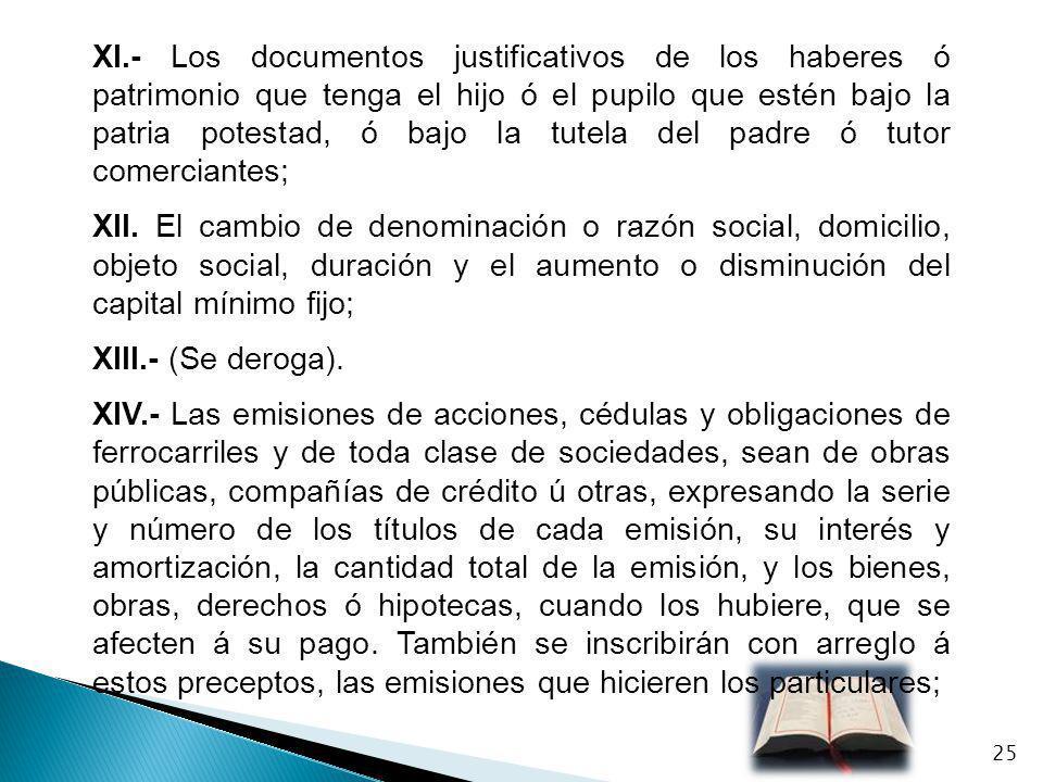 XI.- Los documentos justificativos de los haberes ó patrimonio que tenga el hijo ó el pupilo que estén bajo la patria potestad, ó bajo la tutela del p