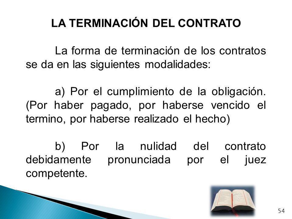 LA TERMINACIÓN DEL CONTRATO La forma de terminación de los contratos se da en las siguientes modalidades: a) Por el cumplimiento de la obligación. (Po