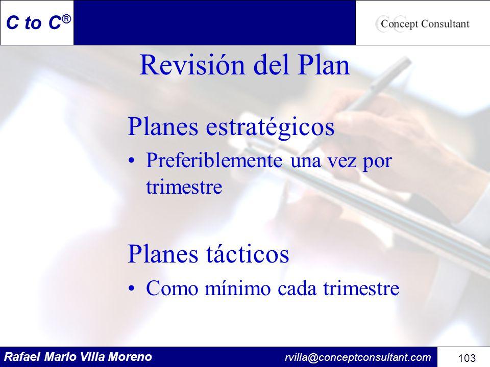 Rafael Mario Villa Moreno rvilla@conceptconsultant.com 103 C to C ® Revisión del Plan Planes estratégicos Preferiblemente una vez por trimestre Planes