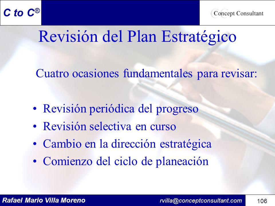 Rafael Mario Villa Moreno rvilla@conceptconsultant.com 106 C to C ® Revisión del Plan Estratégico Cuatro ocasiones fundamentales para revisar: Revisió