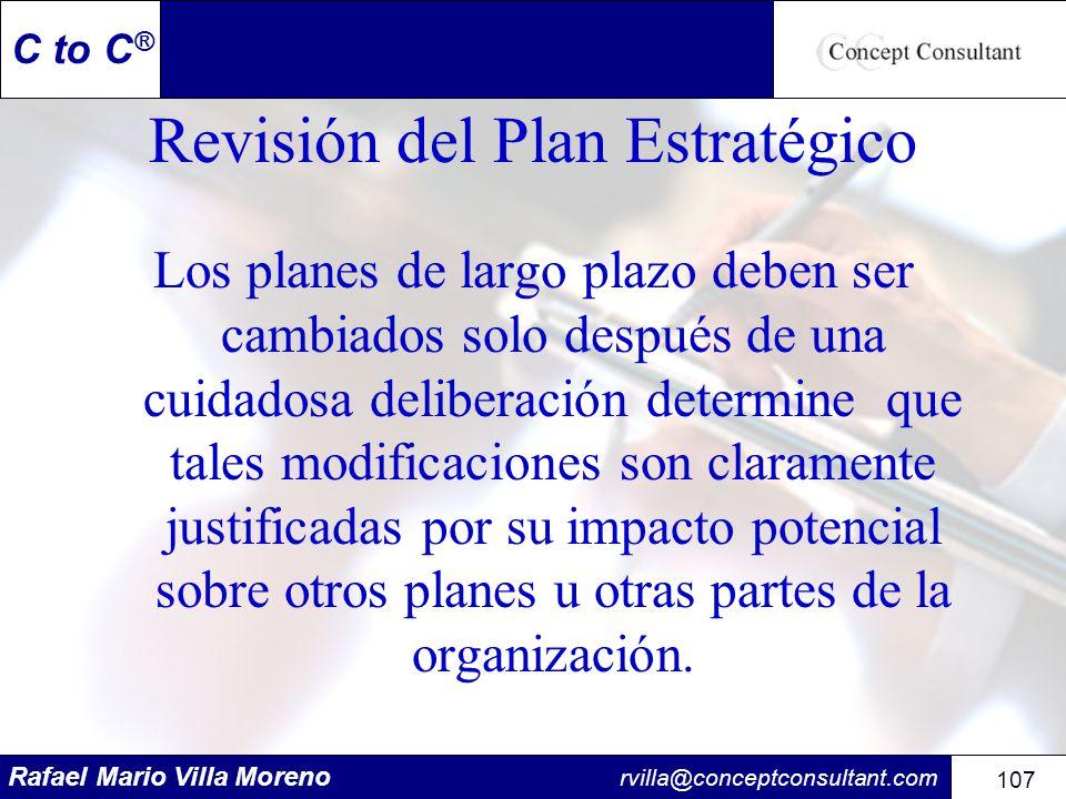 Rafael Mario Villa Moreno rvilla@conceptconsultant.com 107 C to C ® Revisión del Plan Estratégico Los planes de largo plazo deben ser cambiados solo d