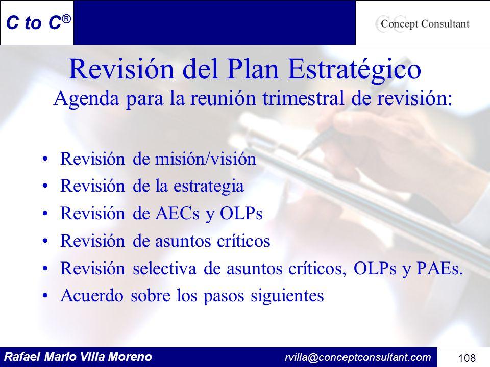 Rafael Mario Villa Moreno rvilla@conceptconsultant.com 108 C to C ® Revisión del Plan Estratégico Agenda para la reunión trimestral de revisión: Revis
