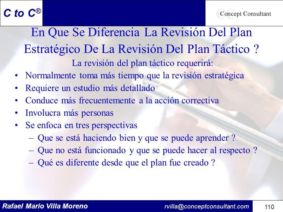 Rafael Mario Villa Moreno rvilla@conceptconsultant.com 110 C to C ® En Que Se Diferencia La Revisión Del Plan Estratégico De La Revisión Del Plan Táct