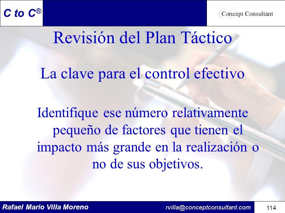 Rafael Mario Villa Moreno rvilla@conceptconsultant.com 114 C to C ® Revisión del Plan Táctico La clave para el control efectivo Identifique ese número
