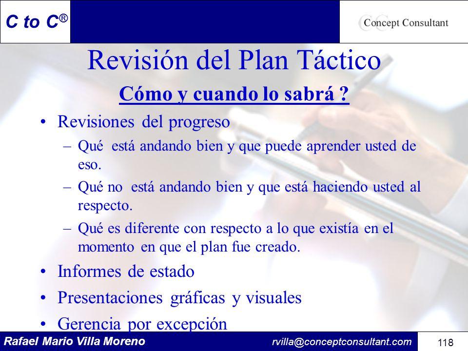 Rafael Mario Villa Moreno rvilla@conceptconsultant.com 118 C to C ® Revisión del Plan Táctico Cómo y cuando lo sabrá ? Revisiones del progreso –Qué es