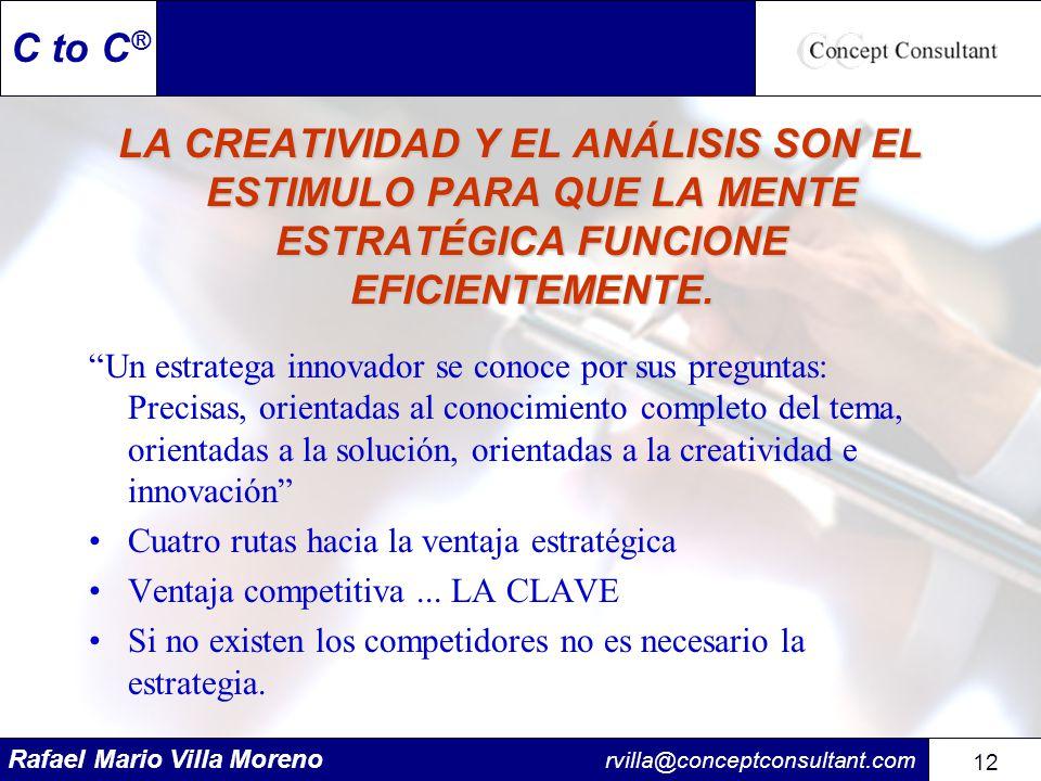 Rafael Mario Villa Moreno rvilla@conceptconsultant.com 12 C to C ® LA CREATIVIDAD Y EL ANÁLISIS SON EL ESTIMULO PARA QUE LA MENTE ESTRATÉGICA FUNCIONE