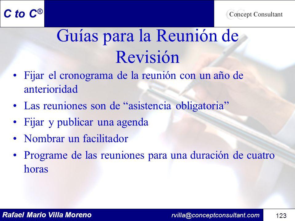 Rafael Mario Villa Moreno rvilla@conceptconsultant.com 123 C to C ® Guías para la Reunión de Revisión Fijar el cronograma de la reunión con un año de